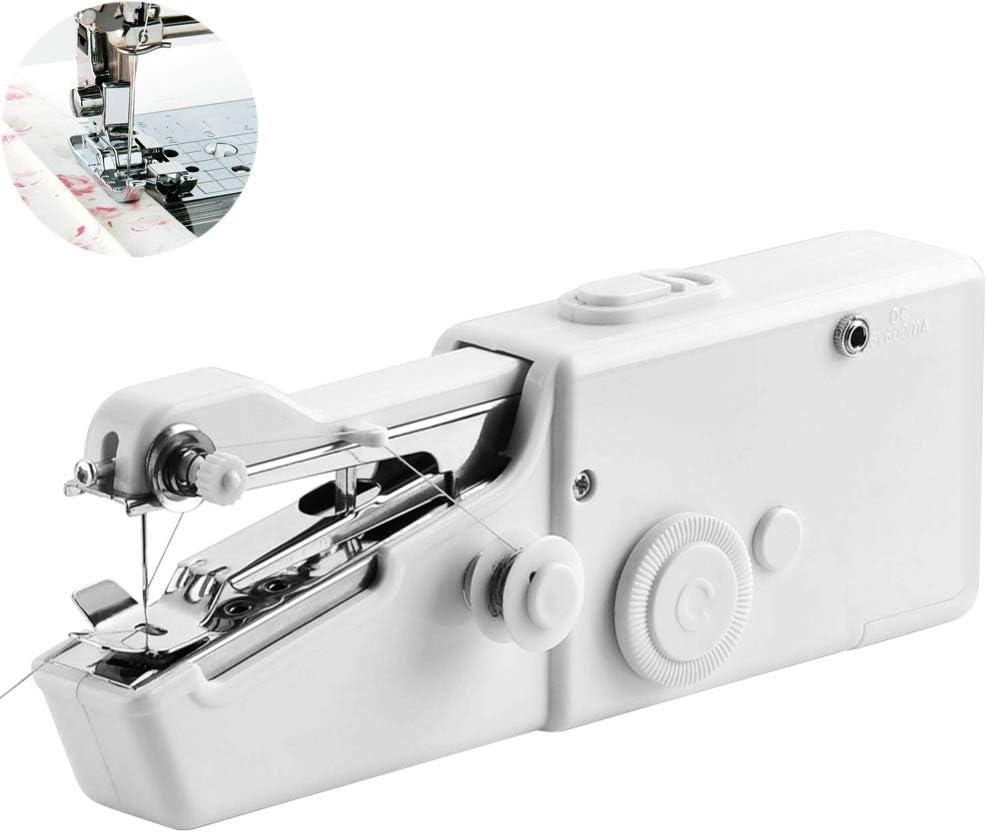 WXJHA Máquina de Coser portátil, inalámbrico Ropa Tela eléctrica rápida Puntada cose a Mano inalámbricos Bricolaje Telas de la Ropa de la Costura