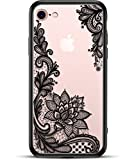 Prosidio TM - Apple iPhone 8 iPhone 7 Case for Girls Women - Matte Clear Phone Case - Cute Black Floral Design - Shockproof Protective Slim Ultra Thin Hard Back Cover Rubber Bumper Cool Flowers Henna
