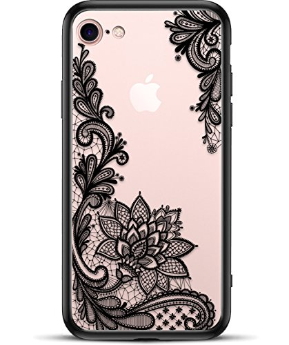 (Apple iPhone 8 iPhone 7 Slim Fit Phone Case for Girls Women with Cute Black Flowers Design - Ultra Thin Matte Hard Plastic Case Cover and Protective Hybrid Rubber Bumper - Cool Floral Pattern)