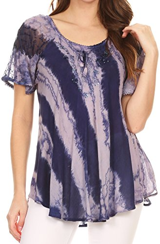 Sakkas 17789 - Valencia Tie Dye Sheer Cap Sleeve Embellished Drawstring Scoop Neck Top - 1-Indigo - OSP