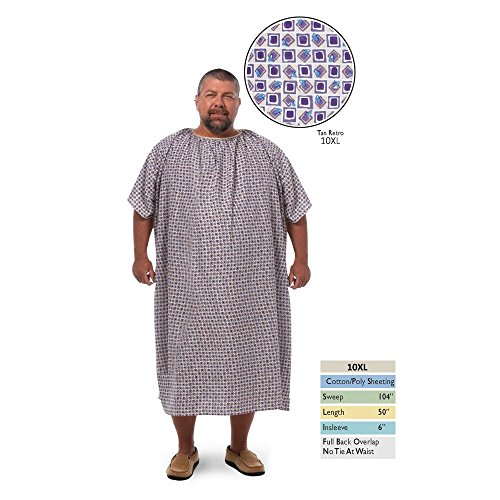 Personal Touch 10XL Bariatric Hospital Gown With Full Back Overlap Closure, Tan Retro Print (1) by Personal Touch