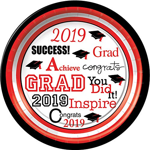 Graduation Grad Success Dessert Plates Red