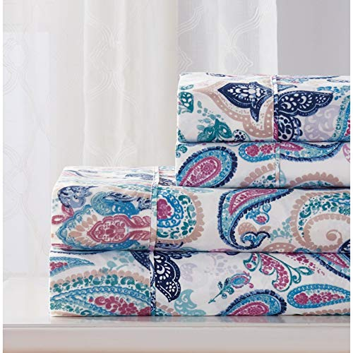 Chloe Fitted Sheet - PH 4 Piece Queen Multi-Color Printed Sheet Set, Casual Modern & Contemporary Style, Microfiber Material, Deep Pockets, Paisley Pattern, Fully Elasticized Fitted, Machine Wash - Chloe Print