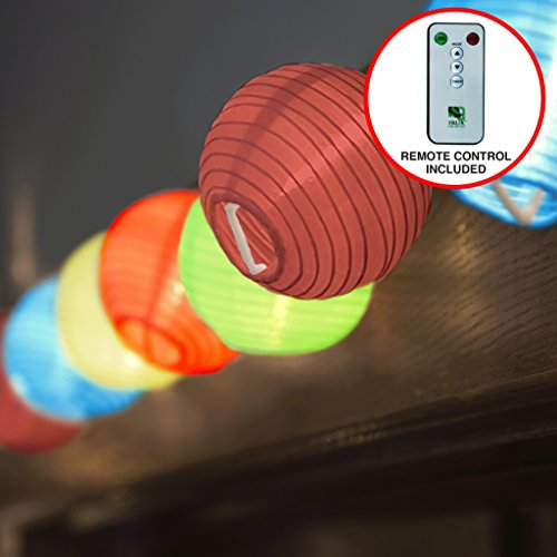 24 Multi Color Lantern String Lights : Indoor Outdoor Mini Nylon Weather Resistant Lighting, Extra Long 16ft With Remote Control, Connectable up to 3 Sets, Bonus Hanging Hooks & Remote ()