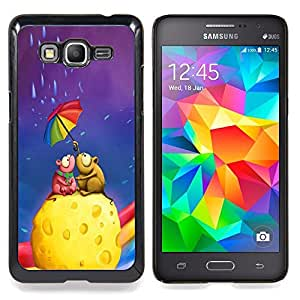 "Qstar Arte & diseño plástico duro Fundas Cover Cubre Hard Case Cover para Samsung Galaxy Grand Prime G530H / DS (Queso colorido paraguas del arco iris del arte del amor"")"