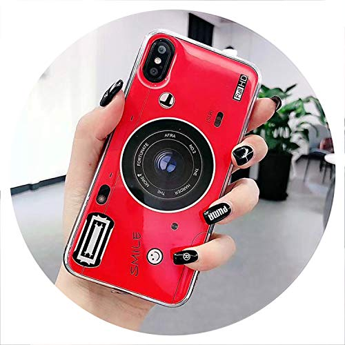Old Styles Case for iPhone 8 5S 5C Vintage 3D Camera Soft Silicone TPU Cover for iPhone 6 6s 7 8 Plus XS Max XR 3D Phone Holder,Red,for iPhone X,1 Case NO Holder