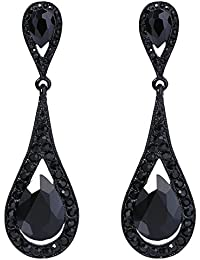 Women's Austrian Crystal Elegant Dual Teardrop Dangle Earrings