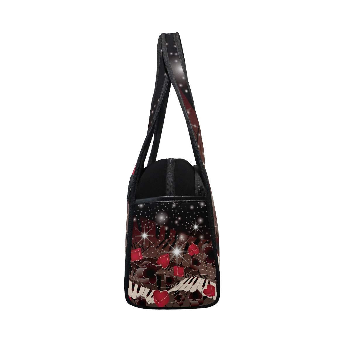 Gym Bag Sports Holdall Poker Melody Canvas Shoulder Bag Overnight Travel Bag for Men and Women