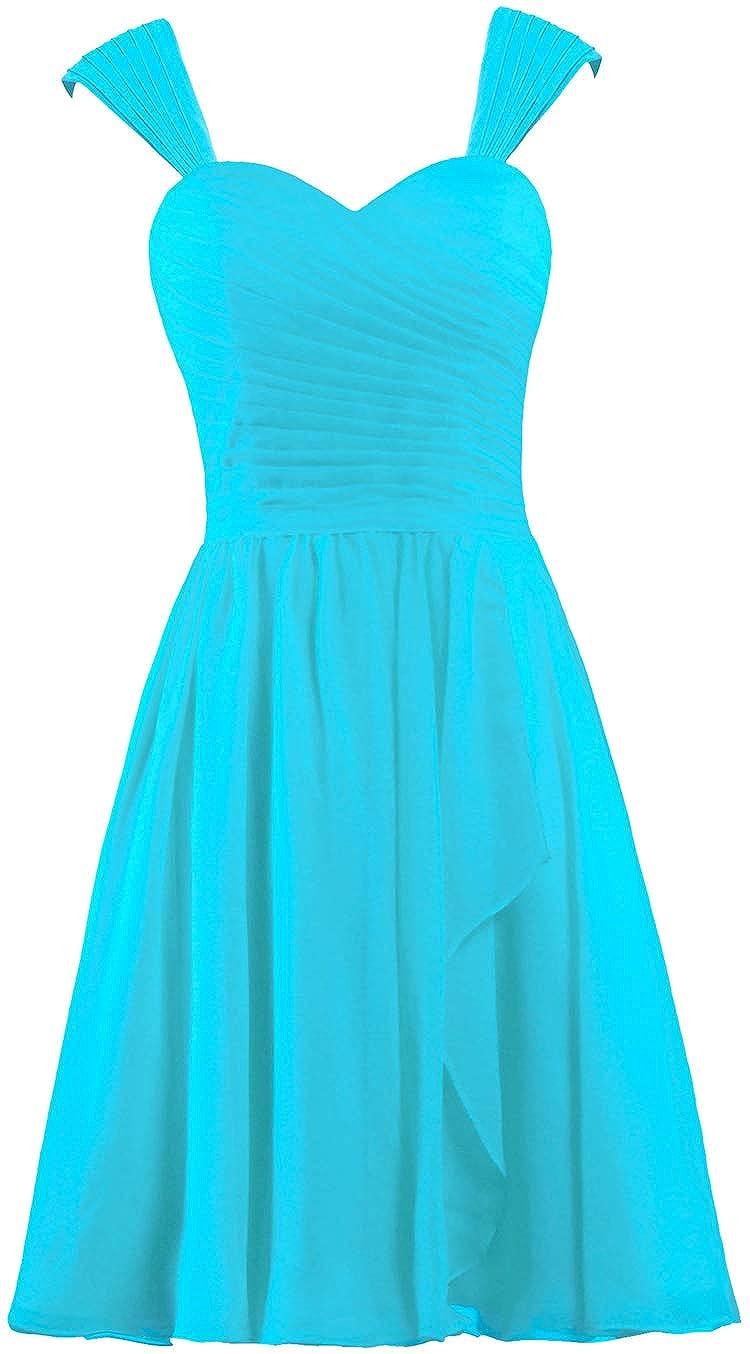 Unbranded* Womens Chiffon Cap Sleeve Bridesmaid Dress Short Prom Gown