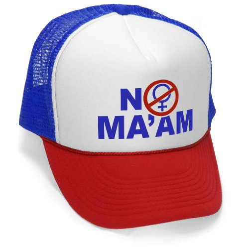 NO MA'AM - funny al bundy joke gag Mesh Trucker Cap Hat, RWB - Mens Khaki Windbreaker