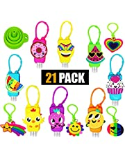 21 PACK 16 Mixed Bulk Kids Hand Sanitizer Travel Size Holder Keychain Carriers with Empty Bottles | 4 Fun Silicone Keychains | 1 Silicone Funnel (16-Variety Pack MIXED)