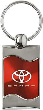 Toyota Camry Red Spun Brushed Metal Key Chain