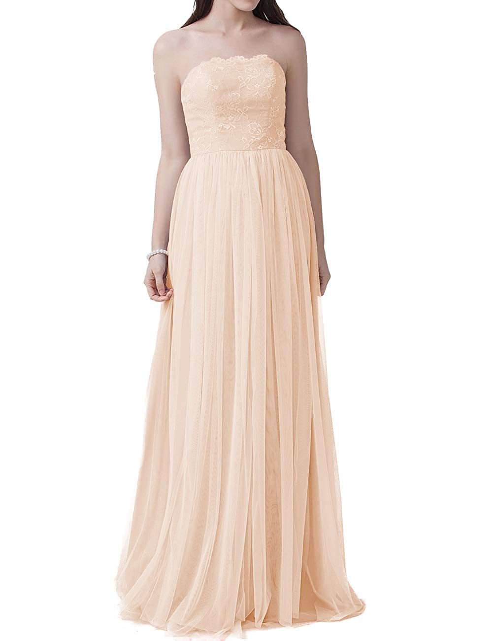 Champagne EDressy Congreenible Bridesmaid Dresses Long Tulle Prom Evening Gowns Wedding Party Dress Sleeveless
