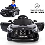 Licensed Mercedes Benz AMG GTR Coupe Electric Ride On Car with 2.4G Remote Control, LED Light, MP3 Socket, 12V 2 Motors - Black