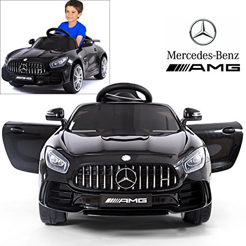 Mercedes Benz AMG GTR Electric Ride On Car with Remote Control for Kids | 12V Power Battery Official Licensed Kid Car to Drive with 2.4G Radio Parental Control Opening Doors Black