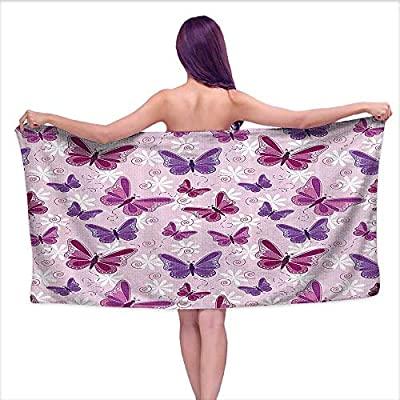 Leigh home Bath Towel?Various Flying Butterflies with iry Colors Hippie Style Magical,Good Ideal for The Kid's Bathroom, a Guest Bathroom