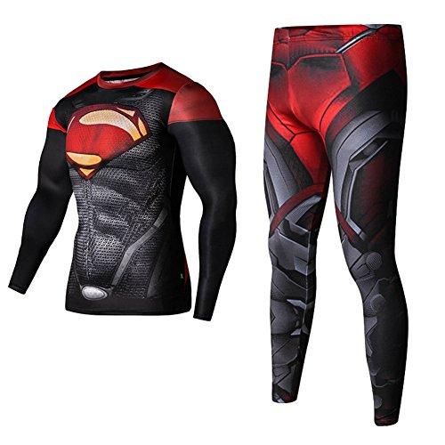 Men's Compression Pants Tights Superman Ironman workout Shirts(L,Red1Set)