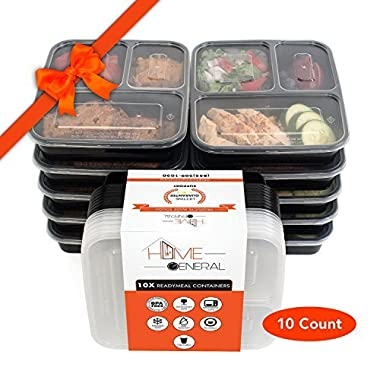 Home General 10x Premium Bento Box 3-Compartment Kitchen Food Storage Reusable Microwave Safe Meal Storage Food Containers Set With Lids. Excellent 3 Meal Food Prep. 100% LIFETIME Money Back Guarantee