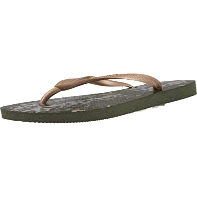 33aaf19f7adba Image Unavailable. Image not available for. Color  Havaianas Slim Animals Green  Olive Flip Flop ...