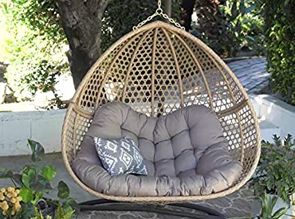 Pleasing Amazon Com Double 2 Person Hanging Egg Chair Resin Wicker Caraccident5 Cool Chair Designs And Ideas Caraccident5Info