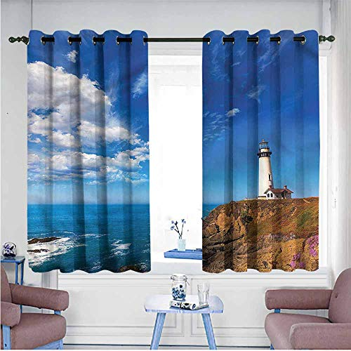 VIVIDX Extra Wide Patio Door Curtain,Lighthouse,California Pigeon Point,Darkening Thermal Insulated Blackout,W55x72L