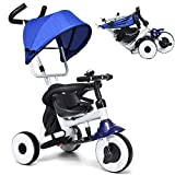 BABY JOY 4-in-1 Kids Tricycle Folding Baby Tricycle w/Adjustable Awning, Folding ABS Foot Pedals, Storage Bag, Sponge Guardrail, Shock-absorbing Wheels, Tricycle for Children Aged 1-5 Years Old (Blue)