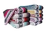 Threads West Premium Mexican Falsa Beach Blanket, Serape Stripe Yoga Blanket (Pink)