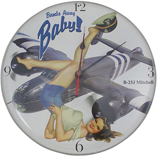 B-25 Bombs Away Baby Vintage Metal Clock Pin Up Girl Military 14 X 14 Not Tin from Past Time Signs