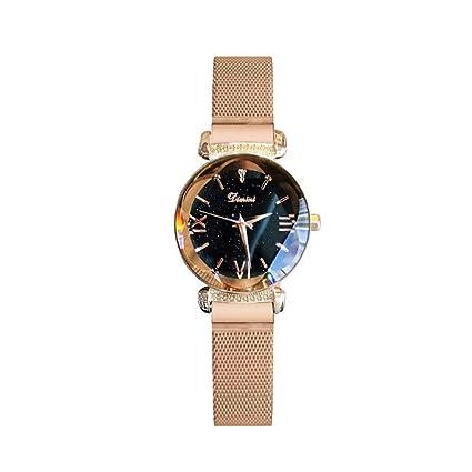 YNYN Mujer Cuarzo Reloj Moda Cielo Estrellado Impermeable Ocio Diamante De Imitación Cadena De La Red