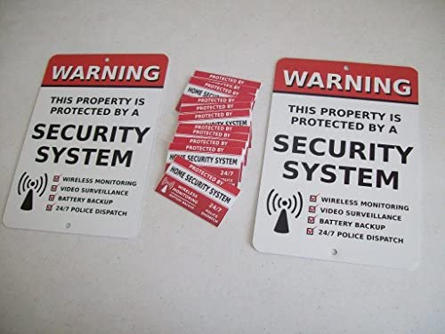 2 Home Security Alarm System Yard Signs & 12 Window Stickers – Stock # 704 – The Super Cheap