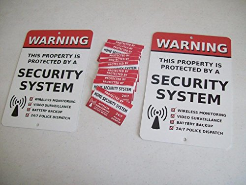 """2 Home Security Alarm System 7"""" x 10"""" Metal Yard Signs & 12 Window Stickers - Stock # 704"""