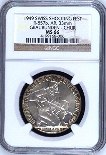 1949 CH Swiss 1949 Silver Medal Shooting Fest Graubunden coin Good NGC