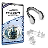 SWIM ELITE Comfortable Nose Clips for Swimming & Swimming Ear Plugs for Adults – Swimming Earplugs & Noseclips Bundle – Keep The Water Out