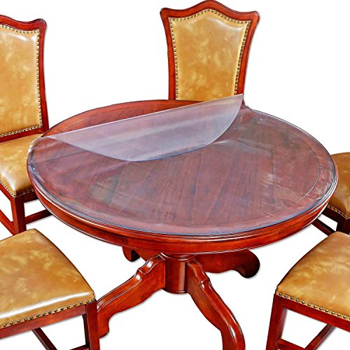 Top Frosted Glass (Round Table Top Protector Dining Coffee Tabletop Cover Circle Furniture Protective Plastic Tablecloth Protective Office Desk Chair Cushions Pads Mat PVC Vinyl Eco Wipeable Water Resistant 54