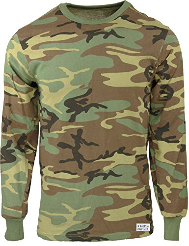 Camouflage Long Sleeve Camo T-shirt - Army Universe Woodland Camouflage Long Sleeve Military T-Shirt Pin - Size X-Large (45