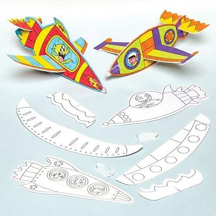 Baker Ross Cohetes planeadores para Colorear Que los niños ...