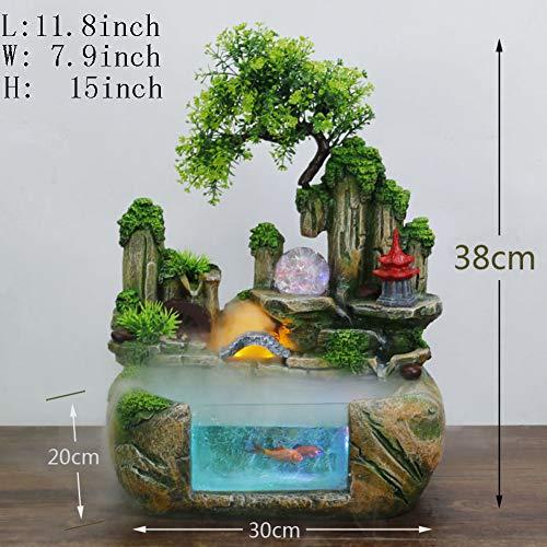 (Decoration Crafts,Desktop Fountain Pendant Rockery Water Small Fish Tank Gift Decorations-Fish Tank B)