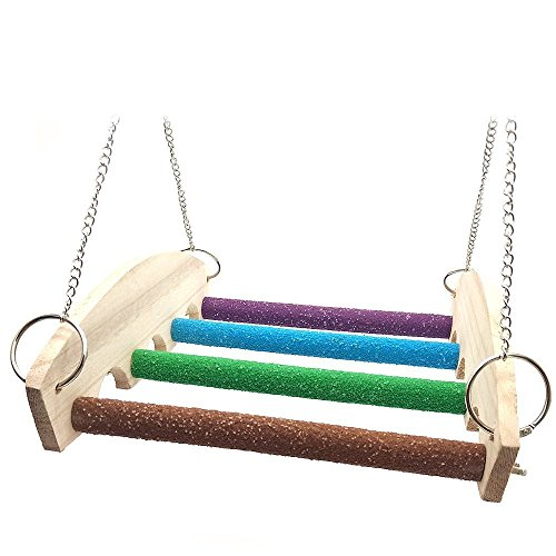 rrot Swing Stand Toys Wooden for Bird Parrot Macaw African Greys Budgies Parakeet Cockatiel Cockatoo Conure Love Training Stand Paw Grinding Birds Cage Accessories (Sand Perch Swing)