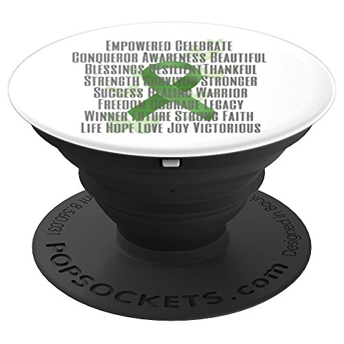 Empowered and Strong Green Awareness Ribbon - PopSockets Grip and Stand for Phones and Tablets by Designs by Alondra