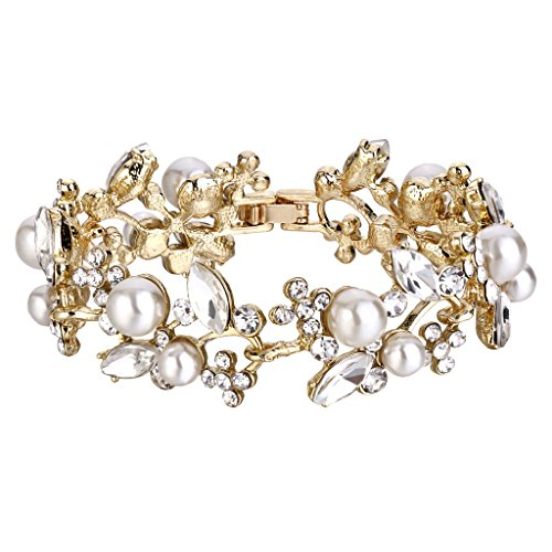 EVER FAITH Gold-Tone Austrian Crystal White Simulated Pearl Bridal Floral Leaf Tennis Bracelet Clear -