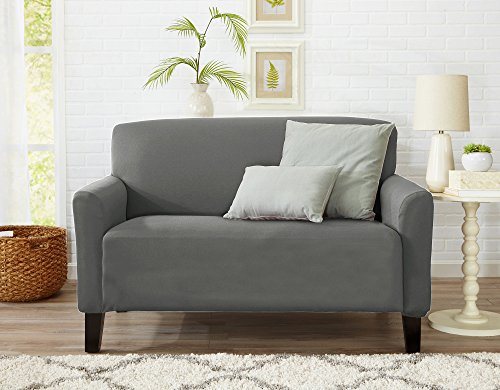 Resistant Seat (Home Fashion Designs Form Fit, Slip Resistant, Stylish Furniture Cover/Protector Featuring Lightweight Stretch Twill Fabric. Brenna Collection Strapless Slipcover. By (Loveseat, Charcoal - Solid))