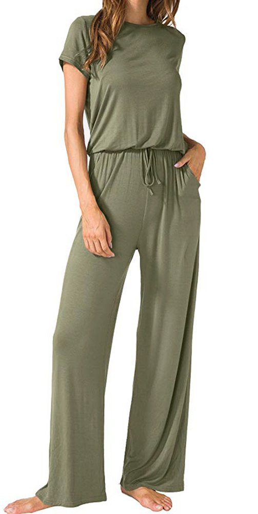Casual Short Sleeve Elastic Waist Wide Legs Long Jumpsuit for Women Army M