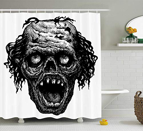 Maple leaf yu Halloween Shower Curtain, Zombie Head Evil Dead Man Portrait Fiction Creature Scary Monster Graphic, Fabric Bathroom Decor Set with Hooks, 72 Inches, Black and White -