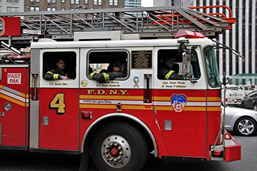 Home Comforts Laminated Poster USA NYC Fire Truck FDNY New York American Poster Print 24 x 36