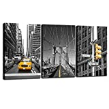 new york brooklyn bridge wall art - Sea Charm - Black and Yellow New York City Wall Art Taxi Brooklyn Bridge Picture Photo Canvas Print Art with Wood Frame,Modern Home Office Wall Decoration Giclee Print Framed Art