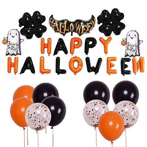 YINASI Halloween Balloons Set Halloween Pumpkin Ghost Foil Balloons Halloween Hanging Decoration Inflatable Toys Include 10Pcs Latex Balloons Halloween Party Supplies (A) ()