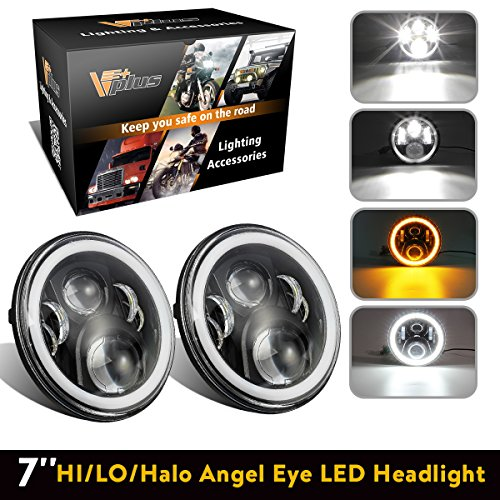 7 Inch LED Headlights Round Headlamp Conversion Kit DLR Light Assembly Replacement for Jeep Wrangler JK TJ FJ Hummer H2 Trucks Motorcycle Headlamp - Super Bright LEDs lights w/ 2 Adapters (Pair) ()