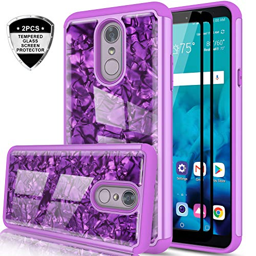 LG Stylo 4 Case, LG Stylo 4 Plus Case, LG Q Stylus/LG Stylus 4 Case with Tempered Glass Protector [2 Pack] for Girls Women, LeYi Glitter Seashell Pattern Marble Phone Case for LG Stylo 4 BKW Purple
