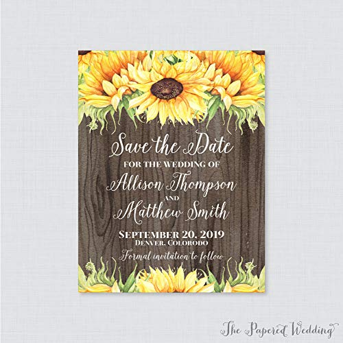 (DASON Save The Date Magnets Sunflower Wood Save The Date Magnets for Wedding Rustic Yellow Sunflower Wedding Save Date Fridge Magnets 0019B)