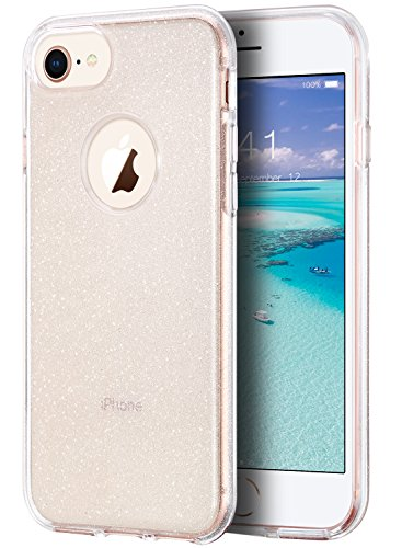 ULAK iPhone 7 Clear Case Glitter, iPhone 8 Case See Through, Crystal Clear Slim Fit Protection Shockproof TPU Bumper Cover for Apple iPhone 7/8 4.7 inch - Clear Glitter
